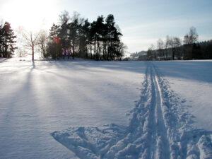 Běžecká stopa ve sněhu